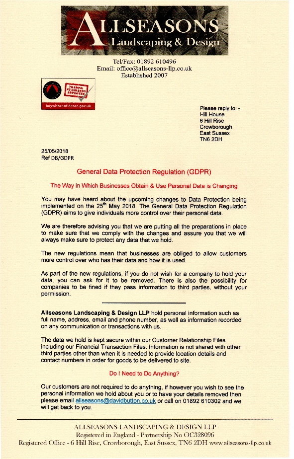 GDPR Data Protection letter- Click to view